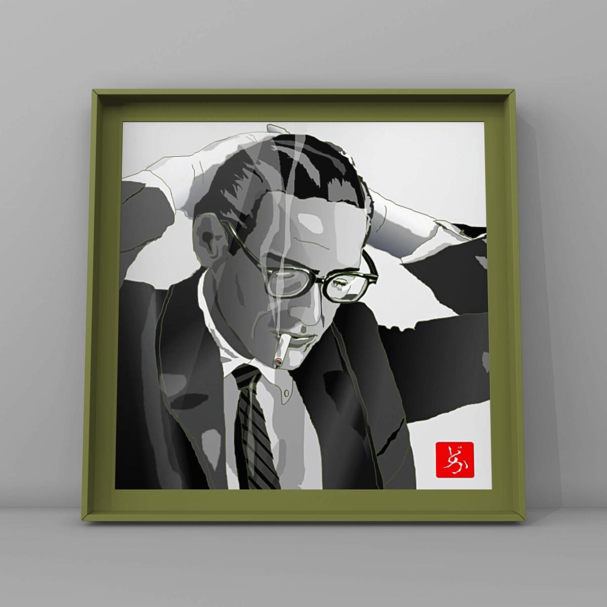 モダン・ジャズのピアニスト、ビル・エバンスのエクセル画イラスト額装版