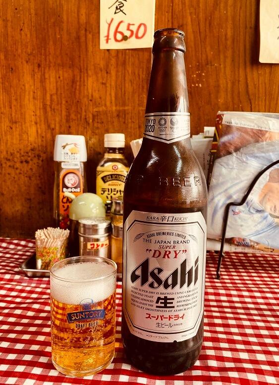 江古田の激渋町中華「大羊飯店」でアサヒスーパードライ大瓶