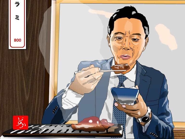 孤独のグルメ、井之頭五郎の一人焼肉のエクセル画イラスト