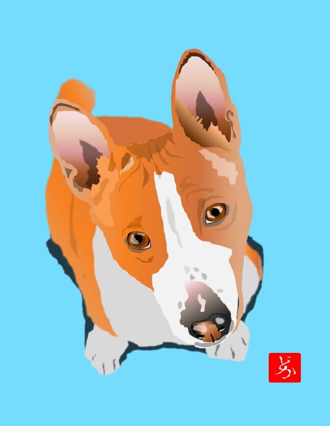 アフリカ原産の古代犬バセンジーのエクセル画イラスト