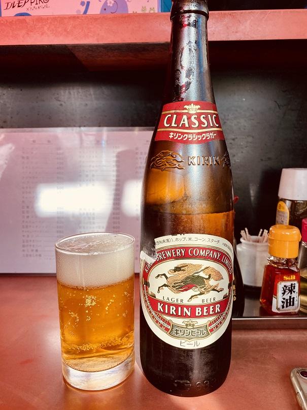 東長崎の町中華「松月」でキリンラガービール大瓶