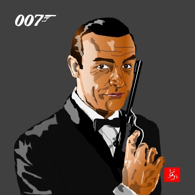007初代ジェームズ・ボンドのショーン・コネリーのエクセル画イラスト