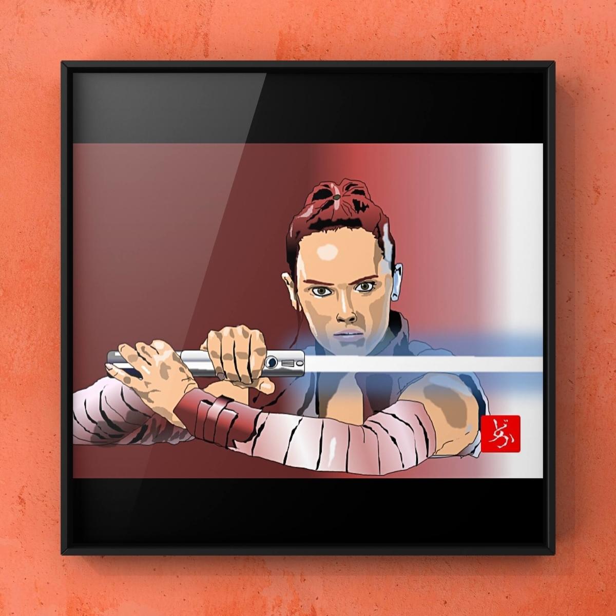 スターウォーズ9 レイのエクセル画イラスト額装版