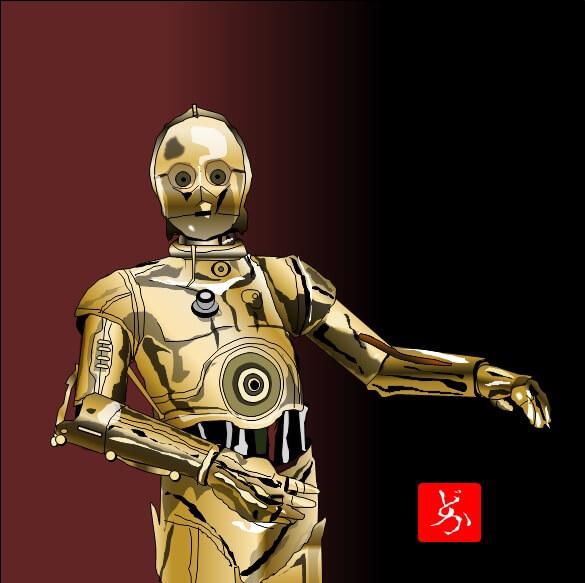 スターウォーズ9 C-3POのエクセル画イラスト