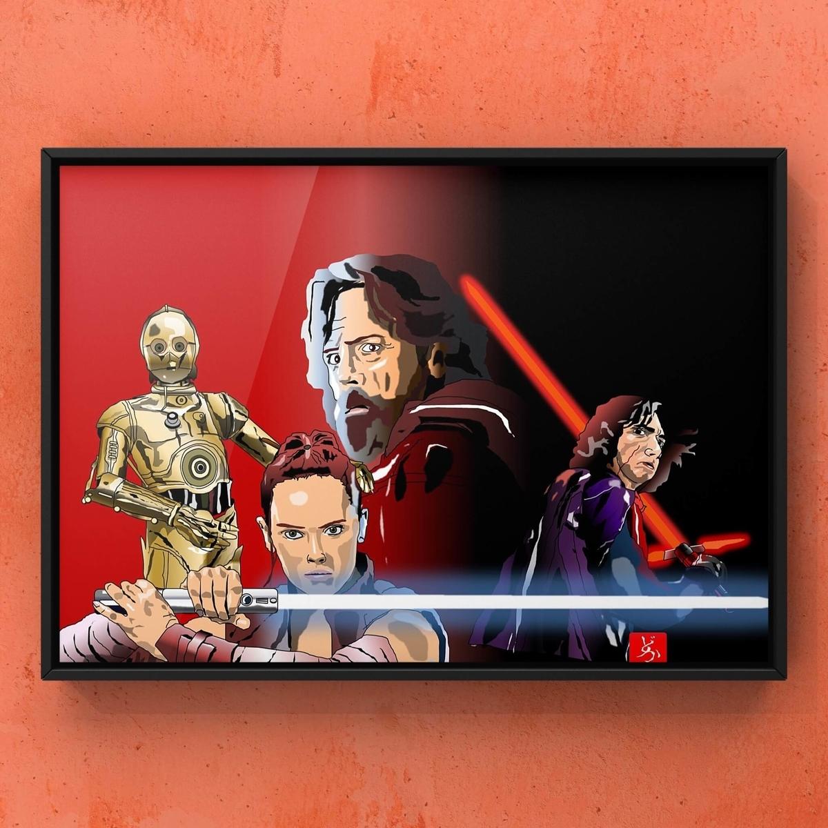 スターウォーズ9 レイ、カイロ・レン、ルーク、C-3POのエクセル画額装版