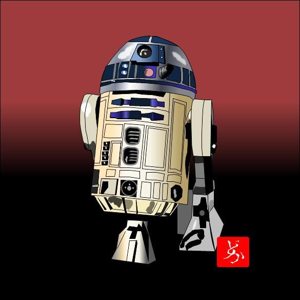 スターウォーズ9 R2-D2のエクセル画イラスト