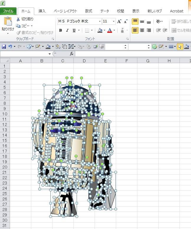 スターウォーズ9 R2-D2のエクセル画イラストドット版
