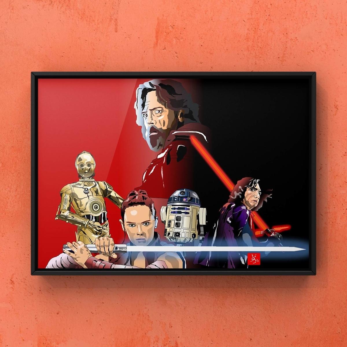 スターウォーズ9 レイ、カイロ・レン、ルーク、C-3PO、R2-D2のエクセル画額装版