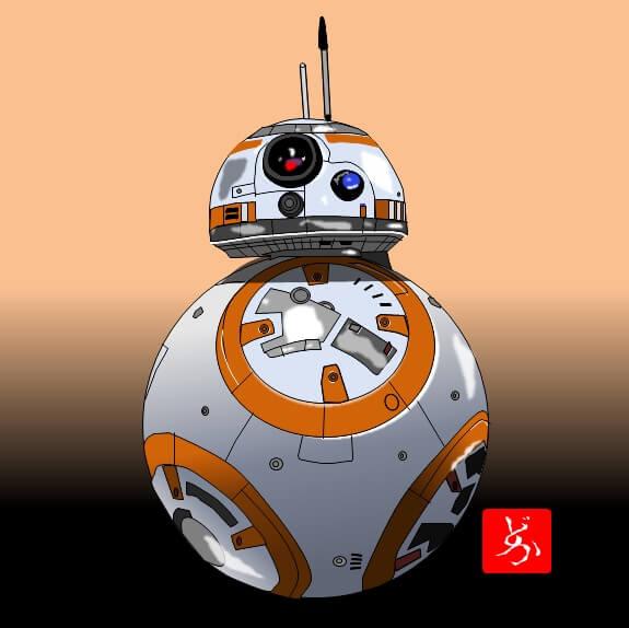 スターウォーズ9 BB-8のエクセル画イラスト