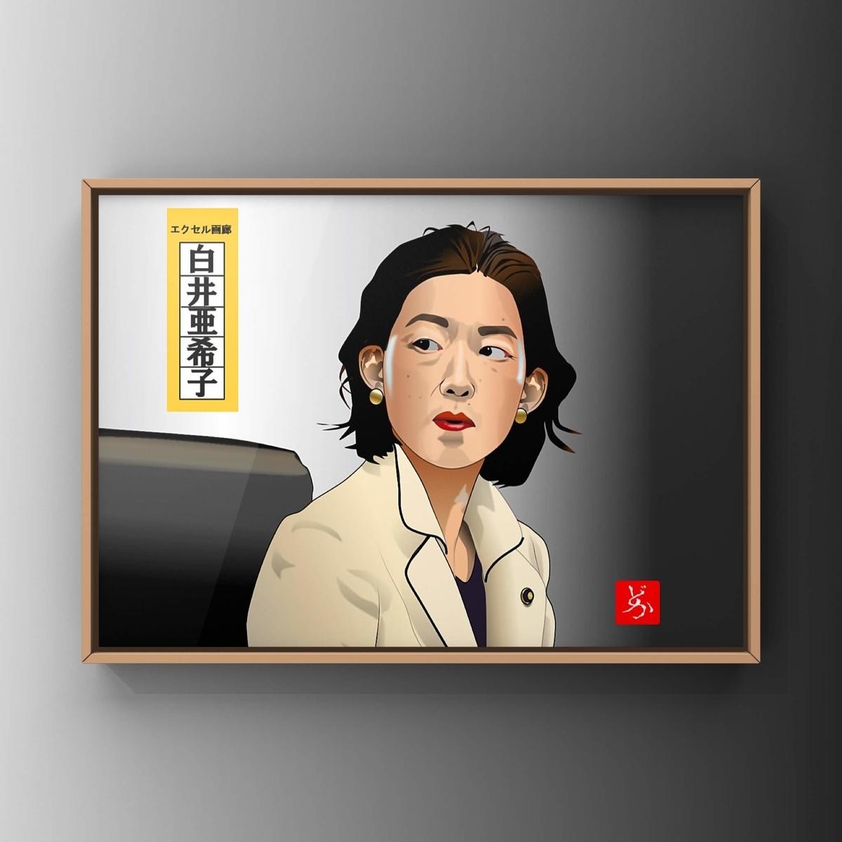半沢直樹の白井大臣@江口のりこのエクセル画イラスト白井額装版