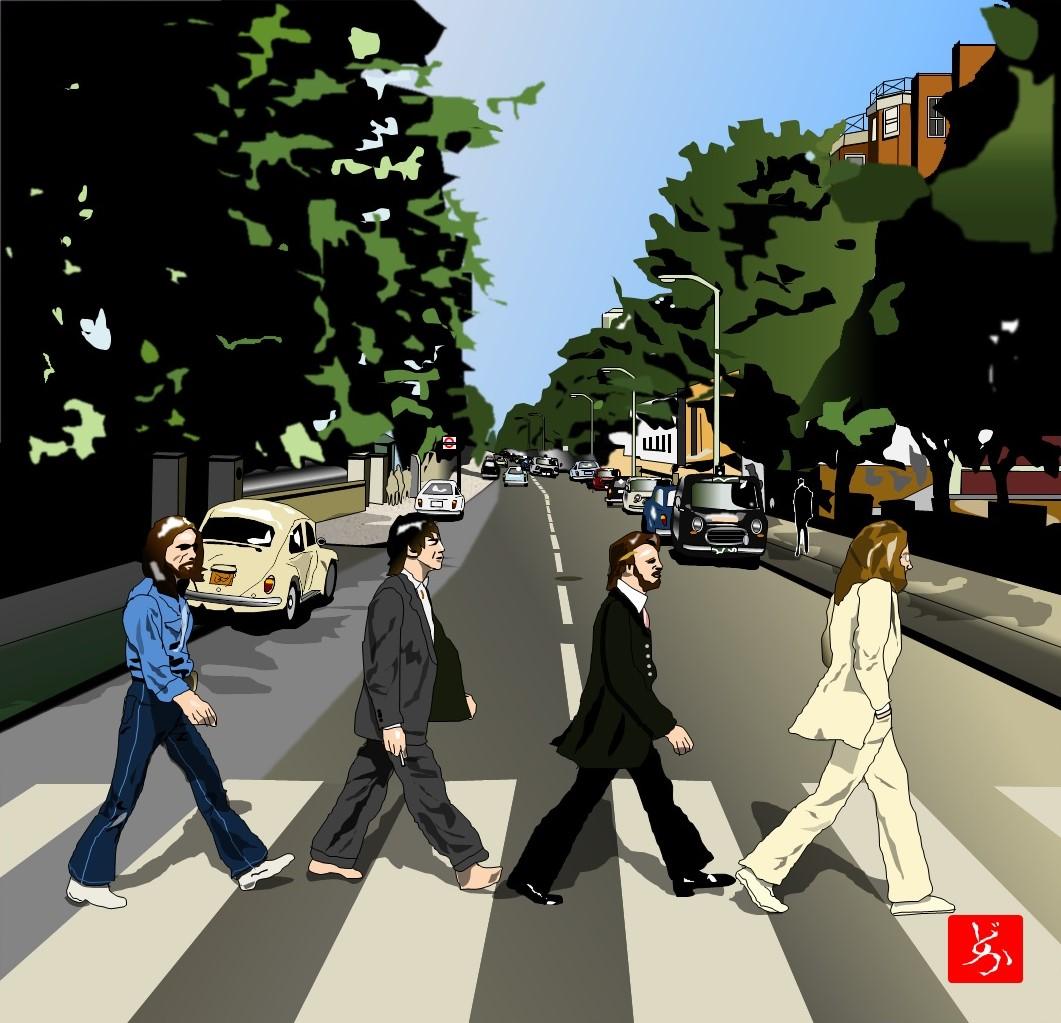 ビートルズ「アビー・ロード」のエクセル画イラスト