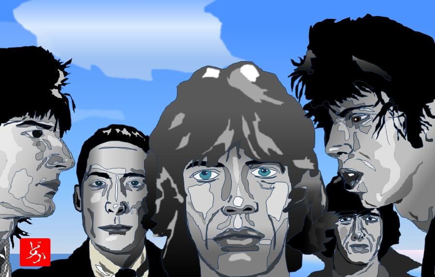 ローリング・ストーンズ「ブラック&ブルー」のエクセル画イラストバリエーション