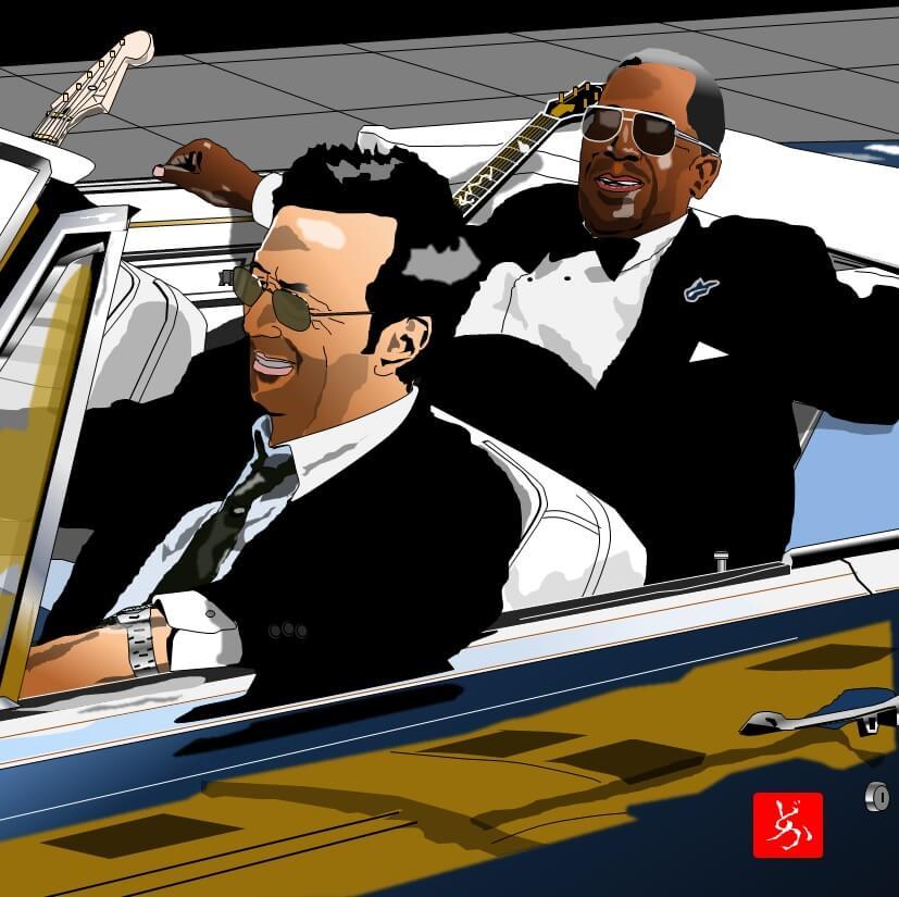 B.B.キング&エリック・クラプトン「ライディング・ウィズ・ザ・キング」のエクセル画イラスト