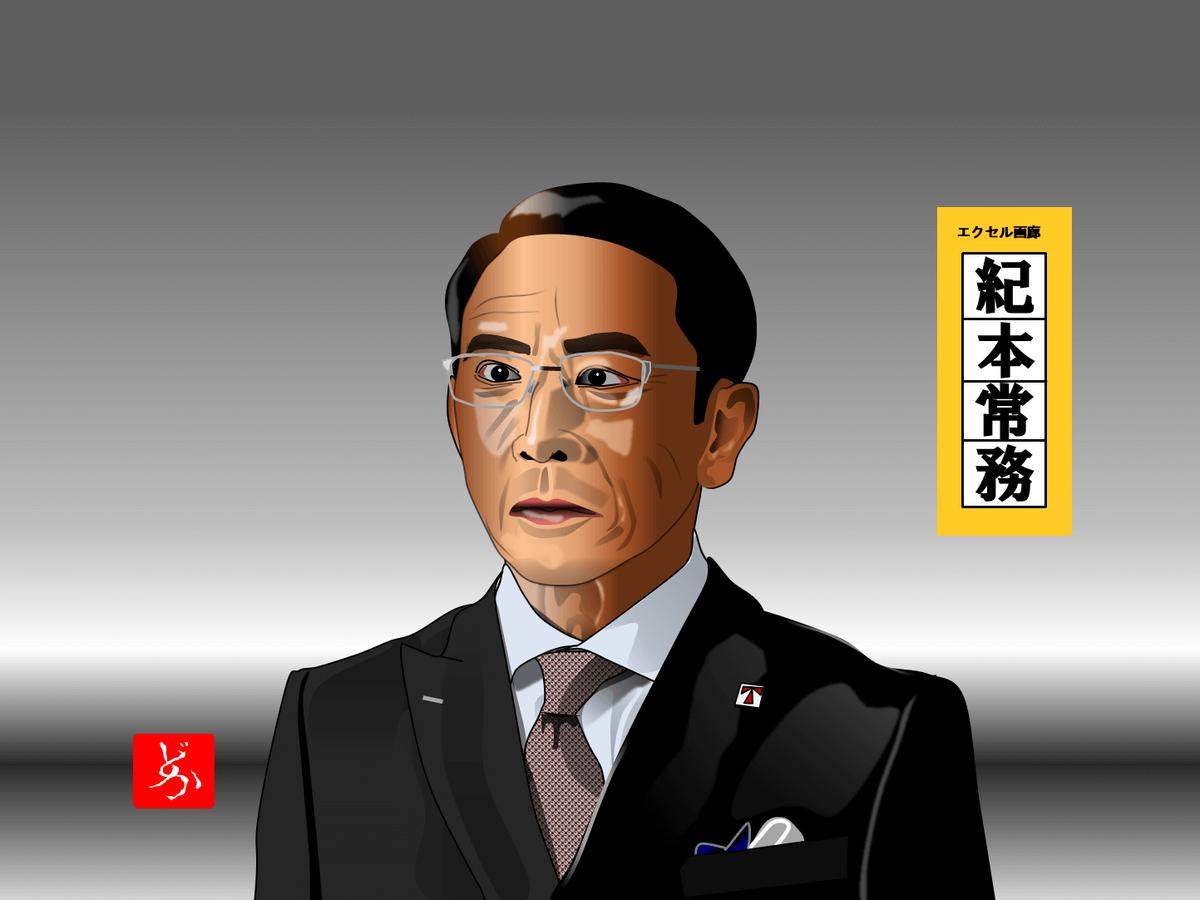 半沢直樹の紀本常務@段田安則のエクセル画イラスト