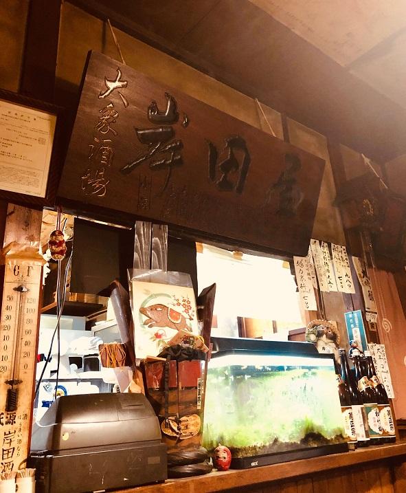 月島の老舗居酒屋「岸田屋」の飴色の店内