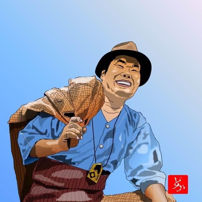 「男はつらいよ」の寅さん、渥美清のエクセル画イラスト