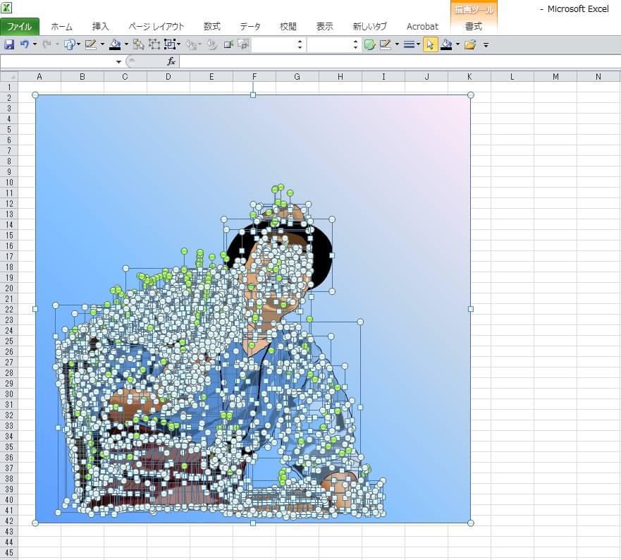 「男はつらいよ」の寅さん、渥美清のエクセル画イラストドット版
