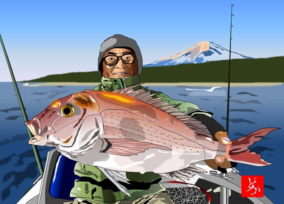 知人がどや顔して釣りあげた鯛のエクセル画イラスト