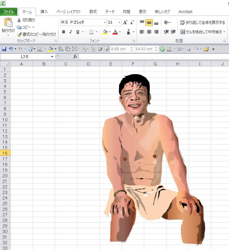 サウナドラマ「サ道」のエクセル画イラスト作画過程「偶然さん」