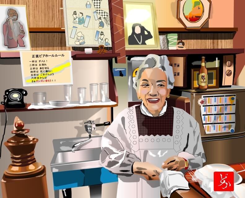 浅草の老舗「正直ビヤホール」のママのエクセル画イラスト