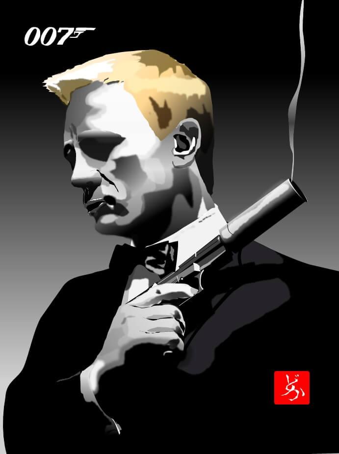 6代目ジェームス・ボンドのダニエル・クレイグのエクセル画イラスト