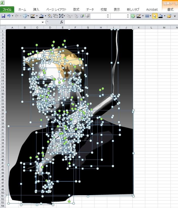 6代目ジェームス・ボンドのダニエル・クレイグのエクセル画イラストドット版