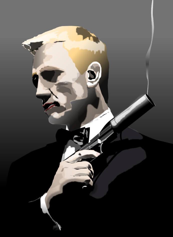 6代目ジェームス・ボンドのダニエル・クレイグのエクセル画イラスト没版
