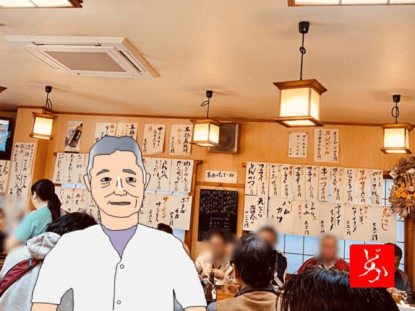 南千住の名酒場「丸千葉」の大将やっちゃんのゆるエクセル画イラスト