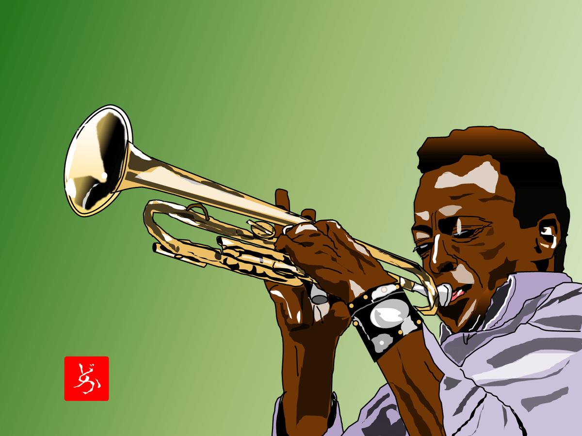 Jazzの帝王マイルス・デイビスのエクセル画イラスト
