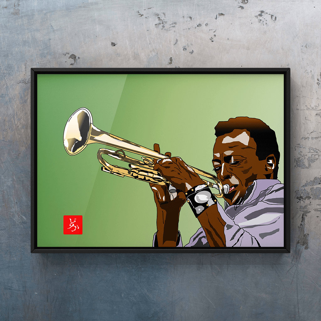 Jazzの帝王マイルス・デイビスのエクセル画イラスト額装版