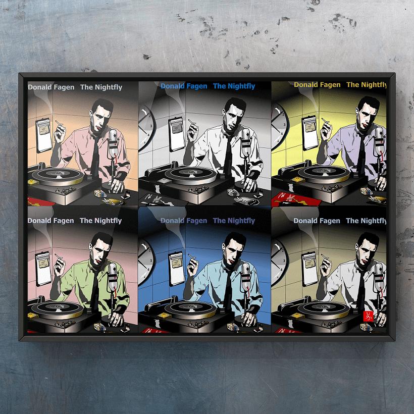 ドナルド・フェイゲン「ナイトフライ」のエクセル画イラストドナルドバリエーション篇額装版