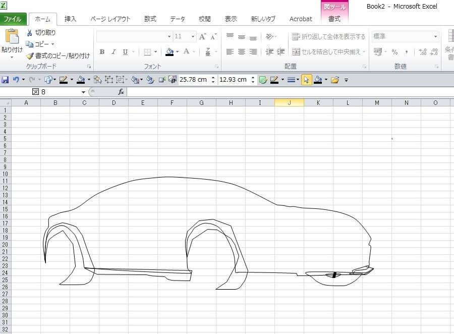 007ボンド・カー、アストン・マーチンDB10のエクセル画イラスト作画過程2