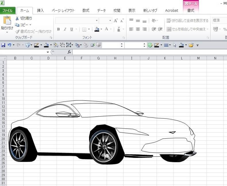 007ボンド・カー、アストン・マーチンDB10のエクセル画イラスト作画過程4