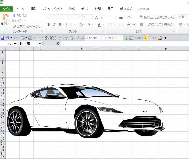007ボンド・カー、アストン・マーチンDB10のエクセル画イラスト作画過程5