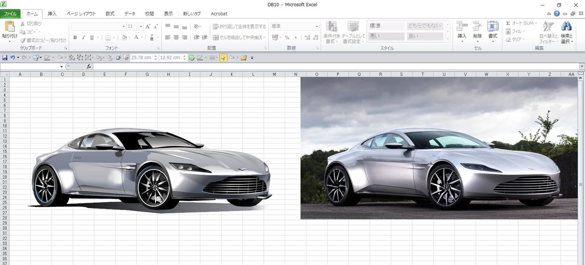 007ボンド・カー、アストン・マーチンDB10のエクセル画イラスト作画過程8
