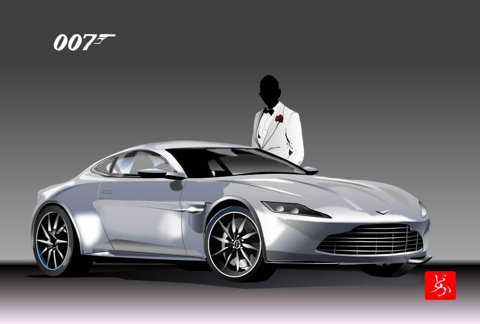 007ボンド・カー、アストン・マーチンDB10のエクセル画イラスト