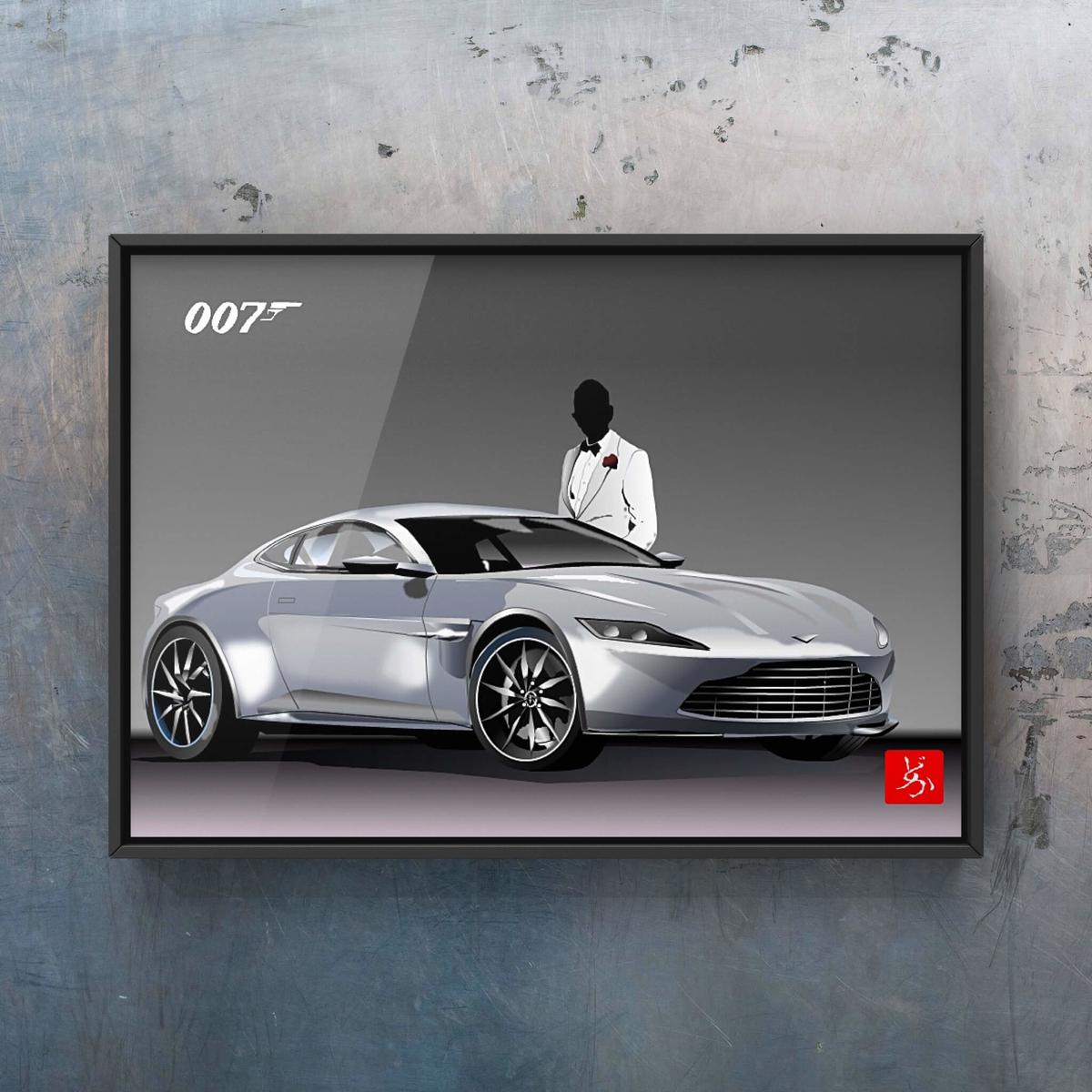007ボンド・カー、アストン・マーチンDB10のエクセル画イラスト額装版