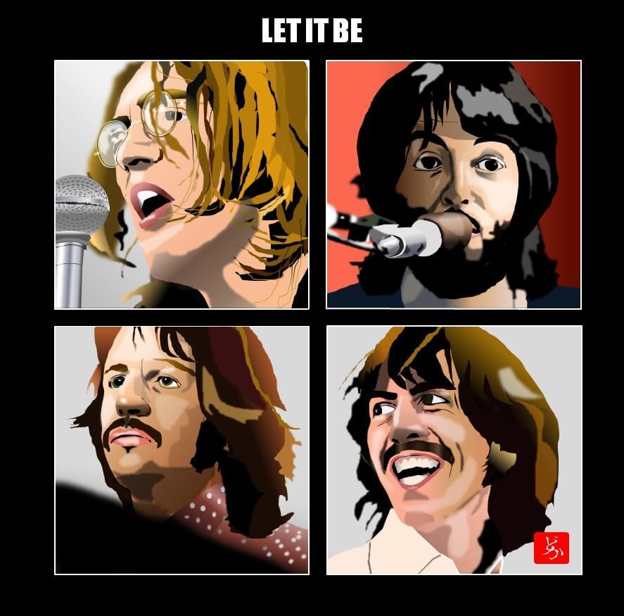 ビートルズの「レット・イット・ビー」のエクセル画イラスト