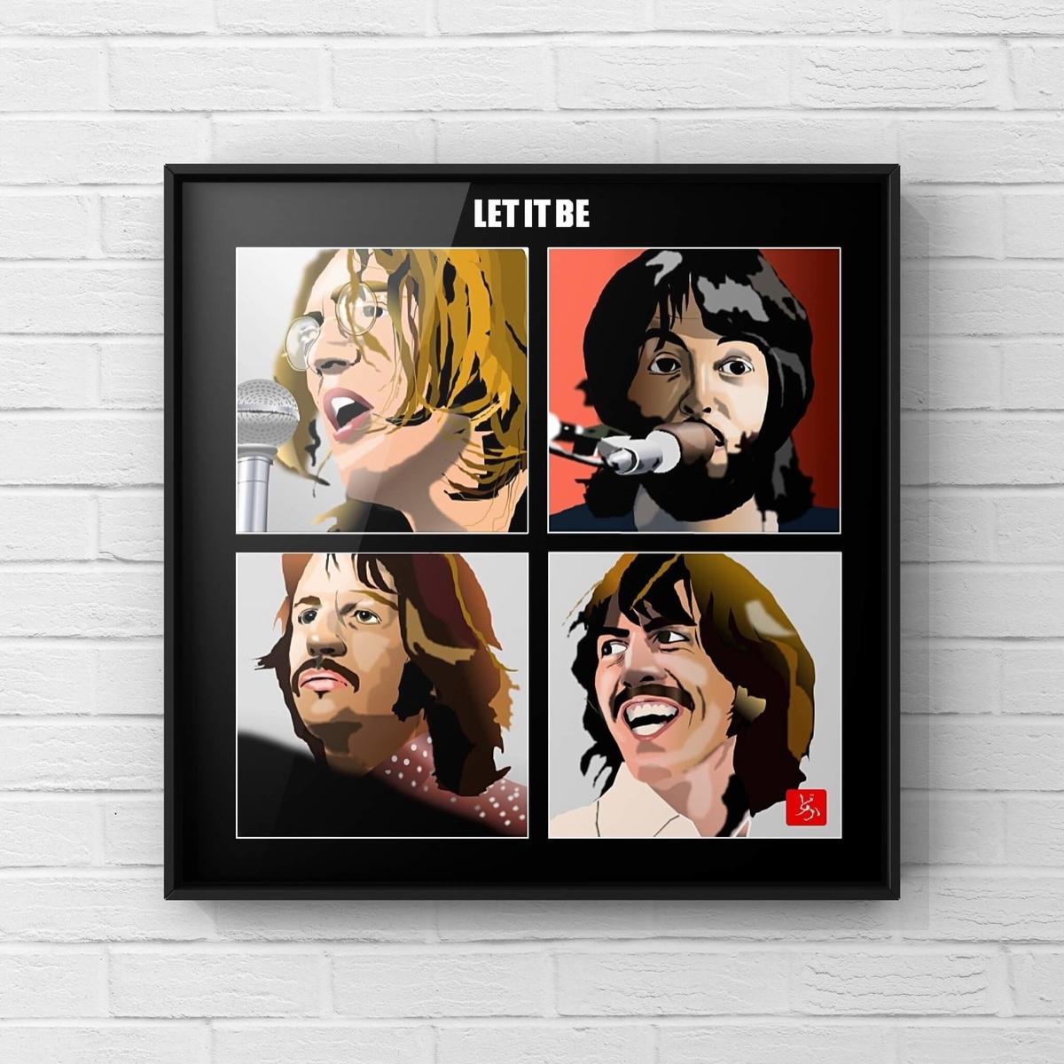 ビートルズの「レット・イット・ビー」のエクセル画イラスト額装版