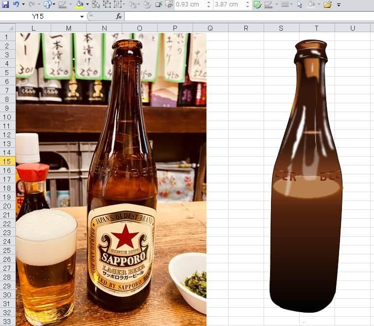 サッポロラガービール(赤星)のエクセル画作画過程14