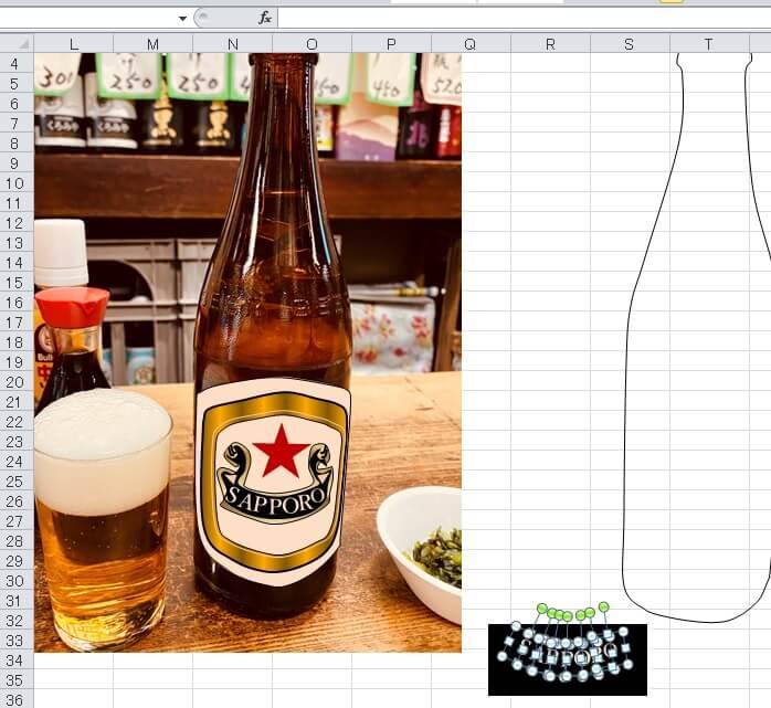 サッポロラガービール(赤星)のエクセル画作画過程20