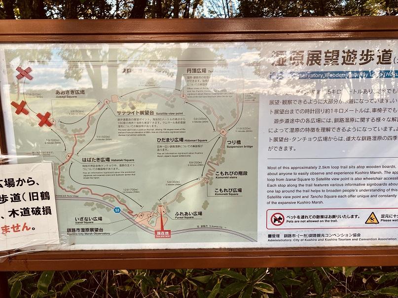釧路湿原遊歩道案内板。1周2.5km