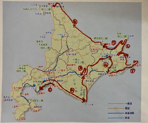 北海道車ひとりのサウナ・温泉旅8日目行程