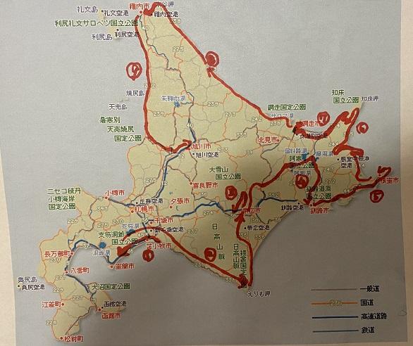 北海道車ひとりのサウナ・温泉旅9日目行程
