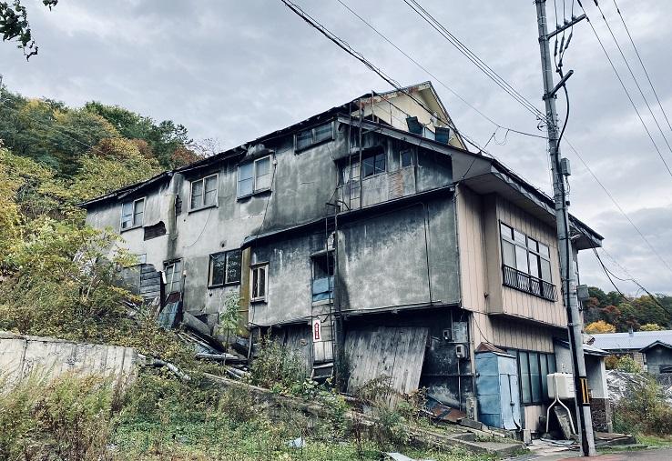 夕張の中心地の廃墟