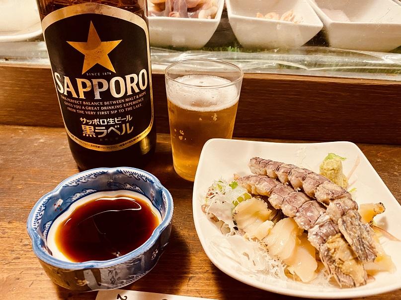 「みよ福」でビールと刺身