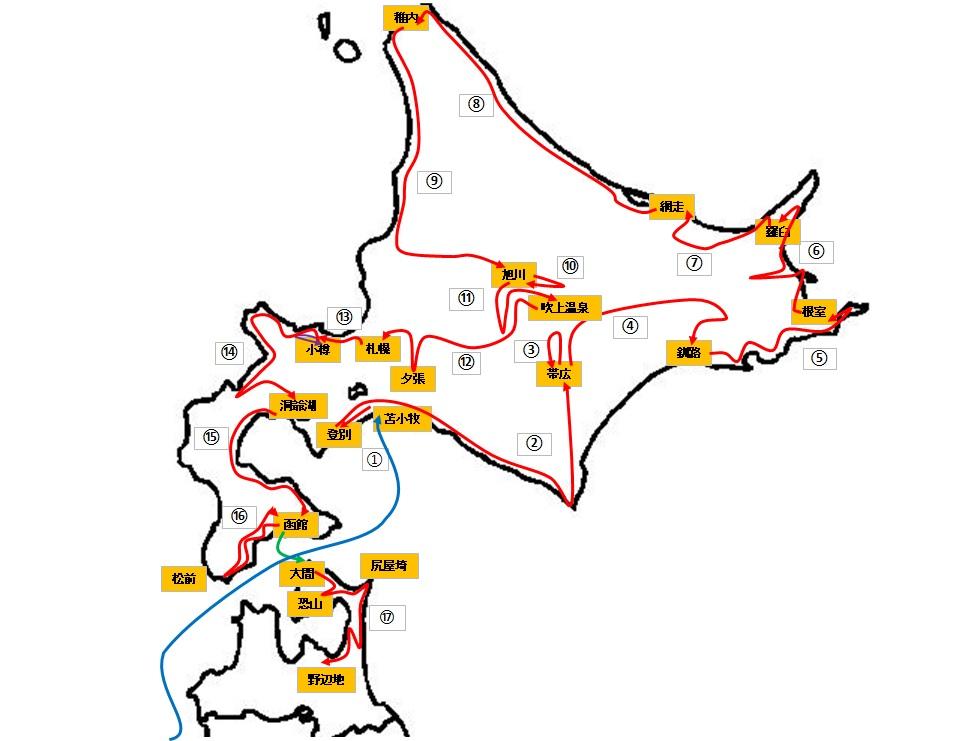 2020北海道ひとり旅の全ルート