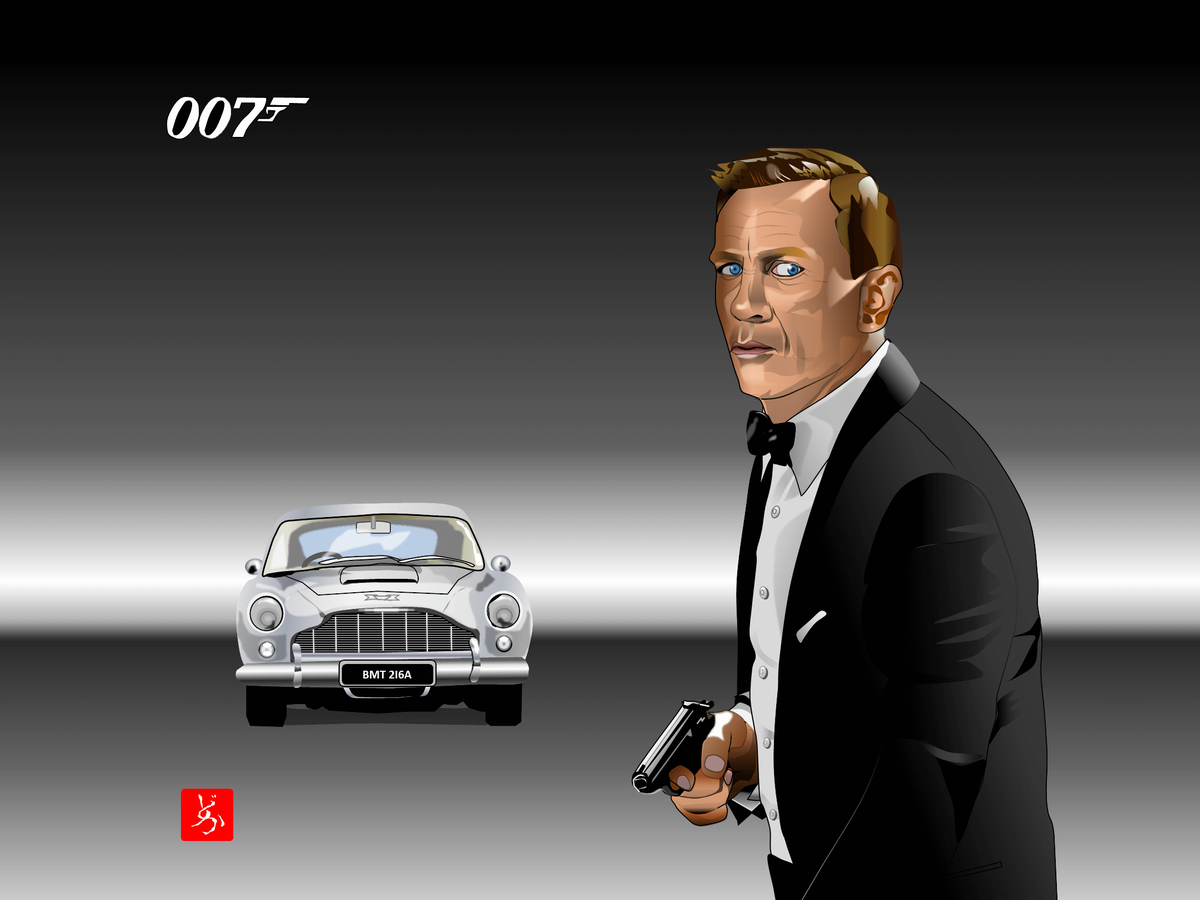 ダニエル・クレイグ&DB5のエクセル画イラスト