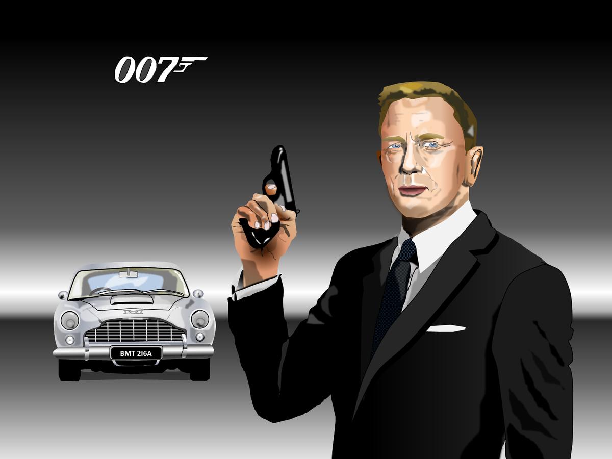 ダニエル・クレイグ&DB5のエクセル画イラスト没版