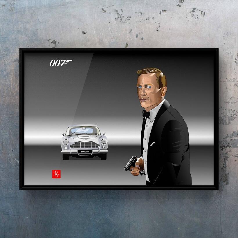 ダニエル・クレイグ&DB5のエクセル画イラスト額装版